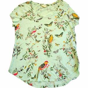 Lucky Brand Birds and Butterflies T-Shirt, M